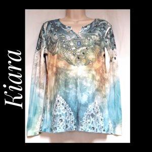 Kiara Ribbed Knit Top Long Sleeves Graphic Size S